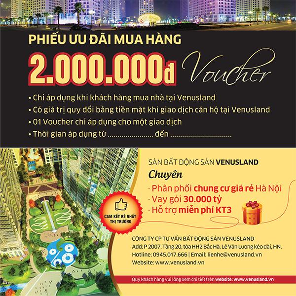 Voucher khuyến mại cho khách hàng mua nhà tại VenusLand